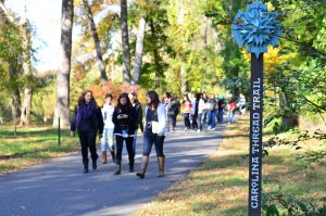 ctt-sign-and-students-little-sugar-creek-greenway